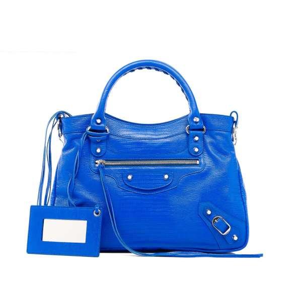 Balenciaga Blue Fluo Lizard Neon Handbag