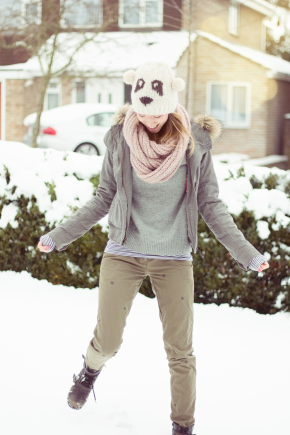 Panda hat, parka and cargo pants